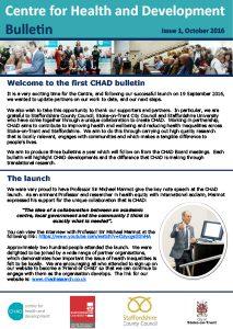 CHAD Bulletin October 2016