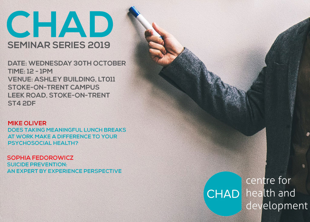 CHAD Seminar Wednesday October 30th